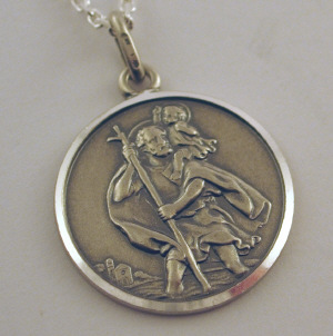 Silver oxadised sterling silver st christopher 4138 silver oxidised st christopher mozeypictures Choice Image