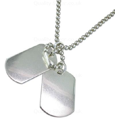 Men S Silver Double Dog Tags R203956