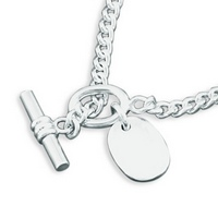Silver Curb Bracelet with Integral Tag