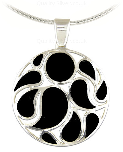 Large silver and black onyx swirl pendant r5175o abstract silver and onyx swirl pendant aloadofball Image collections