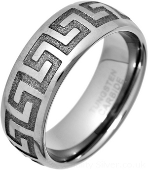 Greek Key Tungsten Carbide Ring